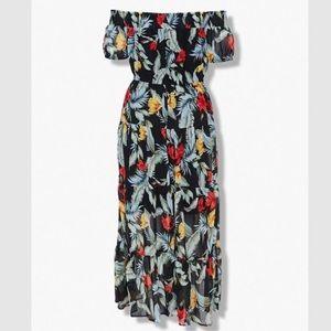 Forever 21+ Black Floral Sheer Chiffon Maxi Dress